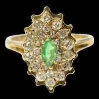 14K 0.58 Ctw Marquise Emerald Diamond Halo Ring Size 5.75 Yellow Gold [CQXK]