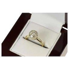 14K 0.50 Ctw 1950's Diamond Cluster Engagement Ring Size 5 White Gold [CQXK]