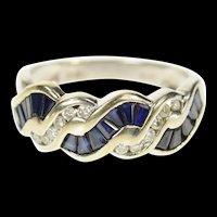 14K 0.63 Ctw Sapphire Diamond Twist Band Ring Size 7.25 White Gold [CQXK]