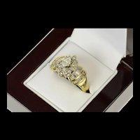 10K 1.55 Ctw Marquise Diamond Halo Engagement Ring Size 9.75 Yellow Gold [CQXK]