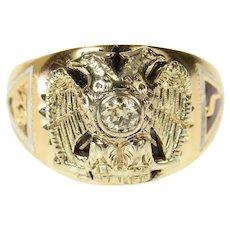 14K Masonic Diamond Eagle Enamel Ornate Ring Size 10.25 Yellow Gold [CQXK]