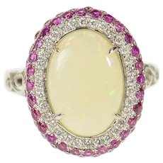 18K Oval Natural Opal Diamond Pink Sapphire Ring Size 8 White Gold [CQXK]