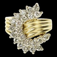14K 1.32 Ctw Diamond Wavy Curved Cluster Ring Size 4.25 Yellow Gold [CQXK]