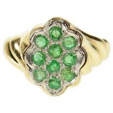14K 0.30 Ctw Emerald Retro Twist Statement Ring Size 6.25 Yellow Gold [CQXK]