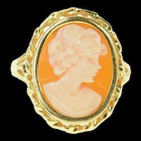 14K Retro Carved Shell Cameo Lady Statement Ring Size 6.75 Yellow Gold [CQXK]
