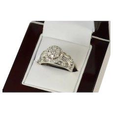 10K 0.99 Ctw Diamond Halo Classic Engagement Ring Size 8 White Gold [CQXK]