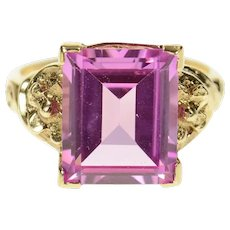 10K Emerald Syn. Pink Topaz Retro Statement Ring Size 6.75 Yellow Gold [CQXK]