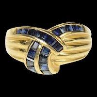 14K Princess Sapphire Criss Cross Statement Band Ring Size 6 Yellow Gold [CQXK]