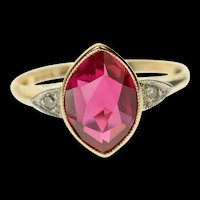 10K Victorian Marquise Syn. Ruby Diamond Ring Size 4.25 Yellow Gold [CQXK]