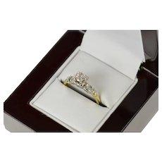 14K 1940's Diamond Classic Promise Engagement Ring Size 6 White Gold [CQXK]