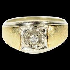 14K Ornate 1960's Men's Diamond Wedding Ring Size 12 White Gold [CQXK]
