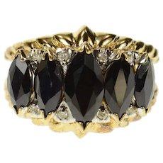 14K Marquise Black Onyx Diamond Statement Ring Size 6.75 Yellow Gold [CQXK]