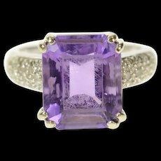 14K Emerald Amethyst Diamond Accent Statement Ring Size 5 White Gold [CQXK]
