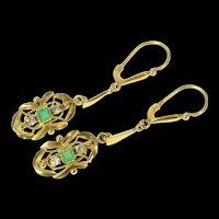 14K Victorian Diamond Emerald Ornate Dangle Earrings Yellow Gold [CQXK]