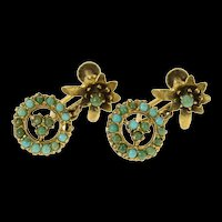 14K Victorian Floral Turquoise Dangle Screw Back Earrings Yellow Gold [CQXK]