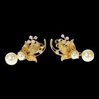 14K 1950's Diamond Pearl Dangle Leaf Clip Back Earrings Yellow Gold [CQXK]