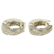 14K Pave Diamond Squared Statement Hoop Earrings White Gold [CQXK]