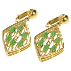 14K 1960's Jade Ornate Squared Layered Look Clip Earrings Yellow Gold [CQXK]