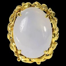 14K Oval Lavender Agate Cabochon Leaf Trim Ring Size 7.75 Yellow Gold [CQXK]