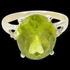 14K Oval Natural Peridot Diamond Accent Classic Ring Size 7.75 White Gold [CQXK]
