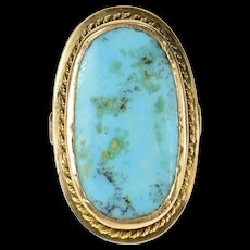 10K Oval Natural Turquoise Rope Trim Statement Ring Size 9 Yellow Gold [CQXK]