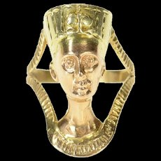 14K High Relief Ancient Egyptian Nefertiti Bust Ring Size 11.5 Yellow Gold [CQXK]