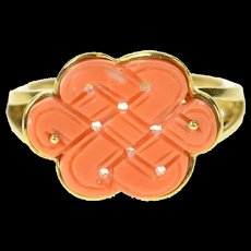 18K Carved Coral Chinese Knot Statement Ring Size 7.75 Yellow Gold [CQXK]