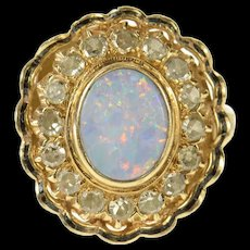 14K Natural Opal Diamond Halo Victorian Cocktail Ring Size 7.5 Yellow Gold [CQXK]