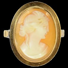 14K Classic Carved Shell Cameo Lady Statement Ring Size 4.5 Yellow Gold [CQXK]