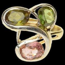 14K Green & Pink Tourmaline Swirl Design Ring Size 7.25 Yellow Gold [CQXK]