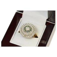14K 1.80 Ctw White & Green Diamond Halo Ring Size 8 Yellow Gold [CQXK]