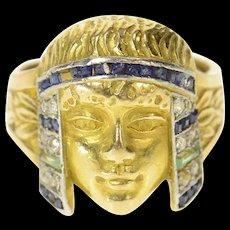 18K Egyptian Diamond Sapphire Emerald Cleopatra Ring Size 3.5 Yellow Gold [CQXK]