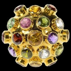 18K 1950's Retro Domed Multi Gem Cocktail Ring Size 8.25 Yellow Gold [CQXK]