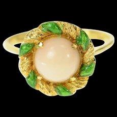 18K Coral Ornate Retro Green Enamel Twist Ring Size 5.75 Yellow Gold [CQXK]