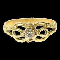 18K Diamond Solitaire Retro Simple Promise Ring Size 8 Yellow Gold [CQXK]
