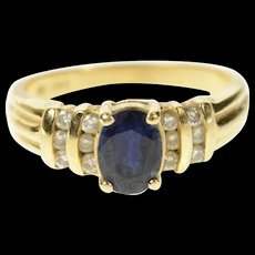 14K Oval Sapphire Diamond Accent Classic Ring Size 6.25 Yellow Gold [CQXK]