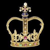 14K Encrusted Victorian Diamond Ruby Crown Pin/Brooch Yellow Gold [CQXK]