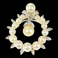 14K 1950's Pearl Diamond Dangle Round Pendant/Pin White Gold [CQXK]