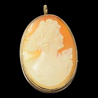 14K Carved Victorian Lady Shell Cameo Pendant/Pin Yellow Gold [CQXK]