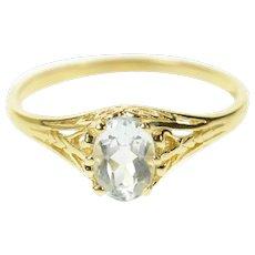 10K Oval Blue Topaz Filigree Ornate Statement Ring Size 6 Yellow Gold [CQXK]