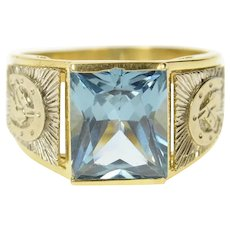 14K Two Tone Blue Topaz Horse Shoe Statement Ring Size 10.25 Yellow Gold [CQXK]