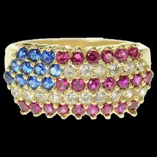 10K Pave American Flag Stars Stripes Patriotic Ring Size 7 Yellow Gold [CQXK]
