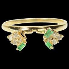 14K Emerald Diamond Wrap Design Wedding Band Ring Size 6.5 Yellow Gold [CQXK]