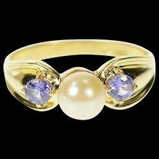 14K Pearl Amethyst Three Stone Statement Ring Size 8 Yellow Gold [CQXK]