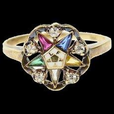 10K Order of the Eastern Star CZ Retro Enamel Ring Size 7 Yellow Gold [CQXK]