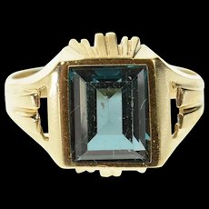 10K Emerald Syn. Blue Topaz Squared Statement Ring Size 7.25 Yellow Gold [CQXK]