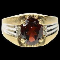 10K Oval Garnet Diamond Men's Statement Ring Size 10.25 Yellow Gold [CQXK]