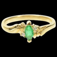 14K Marquise Emerald Diamond Accent Classic Ring Size 6.25 Yellow Gold [CQXK]