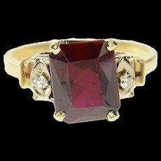 14K 1940's Syn. Garnet Diamond Accent Classic Ring Size 6.25 Yellow Gold [CQXK]