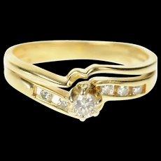 14K Wavy Diamond Bridal Set Engagement Ring Size 5.25 Yellow Gold [CQXK]